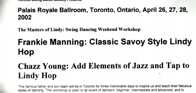 Toronto Lindy Hop Archive 2002-2003 from Charles Levi